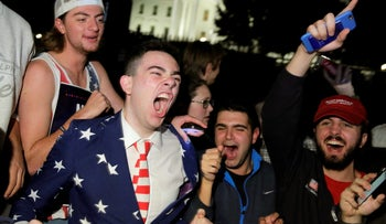 Supporters of Republican presidential nominee Donald Trump celebrating in front of the White House, Washington, November 9, 2016.