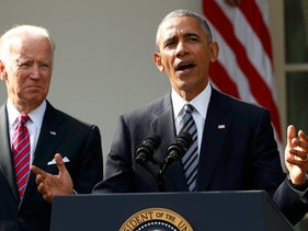 U.S.  President Barack Obama, with Vice-President Joe Biden at his side (L), delivers a statement from the Rose Garden in the White House the morning after Donald Trump was elected the next U.S. president in Washington, U.S., November 9, 2016.