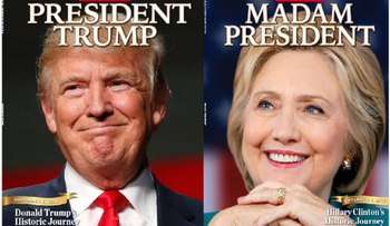 The two special presidential editions of Newsweek magazine.