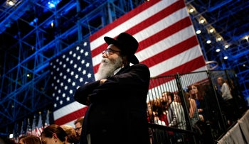 A Jewish man watches voting results come in at Hillary Clinton's election night event at the Jacob K. Javits Convention Center, New York City, U.S., November 8, 2016.