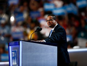 Representative Keith Ellison, a Democrat from Minnesota, pauses while speaking during the Democratic National Convention (DNC) in Philadelphia, Pennsylvania, U.S., on Monday, July 25, 2016.