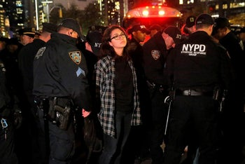 An anti-Trump protester being arrested in New York, November 10, 2016.