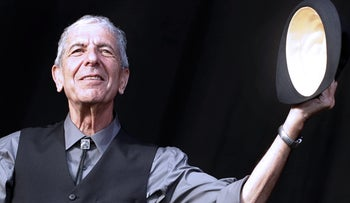 This file photo taken on July 20, 2008 shows Canadian singer Leonard Cohen greeting the public during the international Festival of Beincassim.
