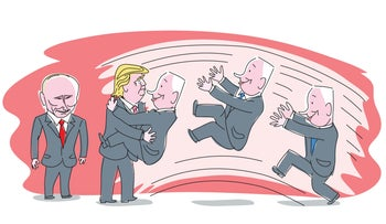 An illustration showing Netanyahu jumping into Trump's arms as Putin smiles nearby.