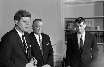 From left: President John F. Kennedy, J. Edgar Hoover and Bobby Kennedy at a White House conference in 1961.