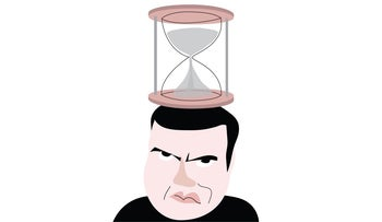 An illustration showing Sayed Kashua balancing an hourglass on his head.