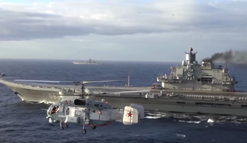 Russian aircraft carrier Admiral Kuznetsov, in the eastern Mediterranean, November 2016