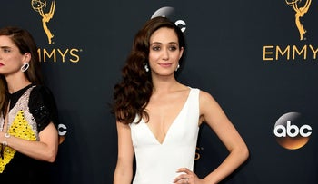 Emmy Rossum arrives at the 68th Primetime Emmy Awards on Sunday, Sept. 18, 2016, at the Microsoft Theater in Los Angeles.