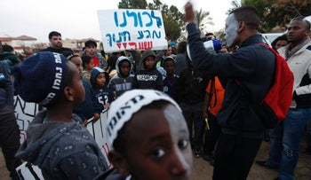 Ethiopian Israelis protest discrimination in the country's school system in Netanya, in 2012.
