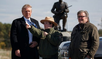Donald Trump, left, and campaign CEO Steve Bannon, right, during a tour at Gettysburg National Military Park, October 22, 2016.