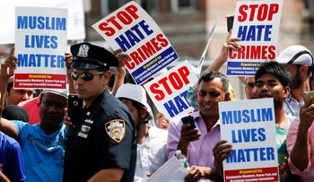 Anti-hate crime protests in New York, August 15, 2016.