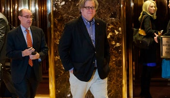 Stephen Bannon, campaign CEO for President-elect Donald Trump, leaves Trump Tower in New York, Nov. 11, 2016.