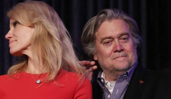 Kellyanne Conway and Steve Bannon at Donald Trump's election party, November 9, 2016.