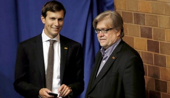 Jared Kushner (L) and Stephen Bannon stand off stage as Republican presidential nominee Donald Trump holds a campaign rally in Canton, Ohio, U.S., September 14, 2016.