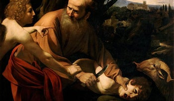 """The painting """"Sacrifice of Isaac"""" by the Italian master Caravaggio (c. 1598-1603). Dershowitz admits to only this one exception to Abraham's 'protecting the innocent': the """"binding"""" of his son."""