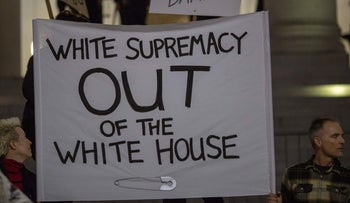People protest the appointment of Steve Bannon to be chief strategist of the White House.