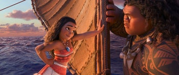 "This image released by Disney shows characters Maui, voiced by Dwayne Johnson, right, and Moana, voiced by Auli'i Cravalho, in a scene from the animated film, ""Moana."""