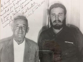 Fidel Castro and Cuban Ambassador to Israel Ricardo Wolf in the 1960s. Castro signed the picture.
