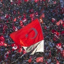 Turkish national flags waving during a pro-democracy demonstration in Istanbul, Turkey, July 24, 2016.