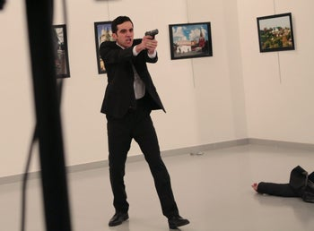 The gunman who fatally shot Russia's ambassador to Turkey in Ankara.