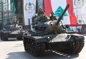 File photo: Lebanese soldiers on U.S.-made M-60 tanks.