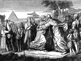 'Joseph Kisses Jacob,' an illustration from the 1897 book 'Bible Pictures and What They Teach Us.'