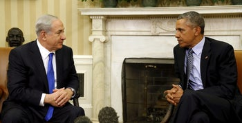 Obama meets with Netanyahu in the Oval office of the White House, Washington, November 9, 2015.