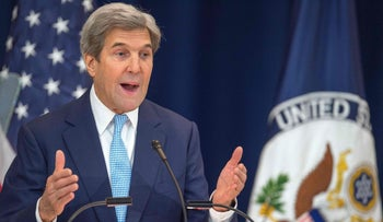 US Secretary of State John Kerry lays out his vision for peace between Israel and the Palestinians December 28, 2016, in the Dean Acheson Auditorium at the Department of State in Washington, DC.