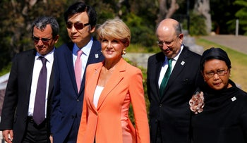 Australia's Foreign Minister Julie Bishop, (center) at a foreign ministers meeting in Sydney in November 2016.