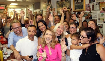 Celine Dion making a surprise appearance at Schwartz's Deli in Montreal, August 2016.