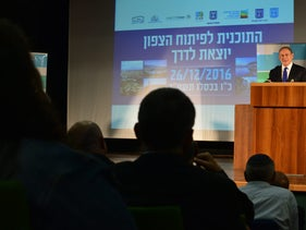 Prime Minister Benjamin Netanyahu addressing the audience at the event promoting northern Israel, Ma'alot Tarshiha, December 26, 2016.
