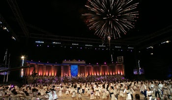A rehearsal for an event celebrating Israel's 60th anniversary in 2008. That year's events cost 150 million shekels and were funded by the state.