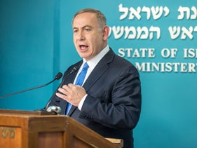 Prime Minister Benjamin Netanyahu reacting to speech about Israel by U.S. Secretary of State John Kerry, Dec. 27, 2016.
