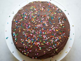 Chocolate birthday cake for Passover. No reason for children to be disappointed.