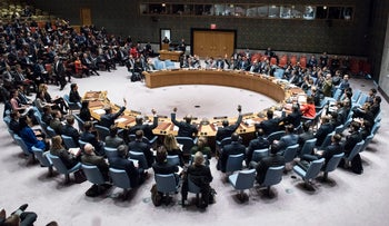 The UN Security Council voting on December 18, 2017 on a resolution concerning Jerusalem's status at the United Nations headquarters.