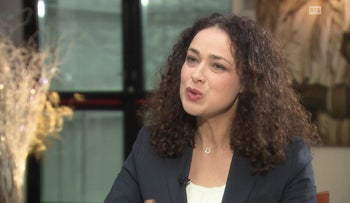 French rabbi Delphine Horvilleur speaking on French-language Swiss television channel RTS.