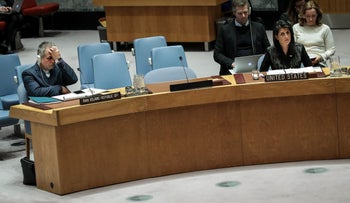 (L to R) Member of the Iranian delegation Javad Safaei and U.S. Ambassador to the United Nations Nikki Haley attend a U.N. Security Council meeting concerning the situation in Iran, January 5, 2018