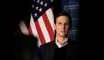 White House senior adviser Jared Kushner delivers remarks on the Trump administration's approach to the Middle East at the Saban Forum in Washington, December 3, 2017.
