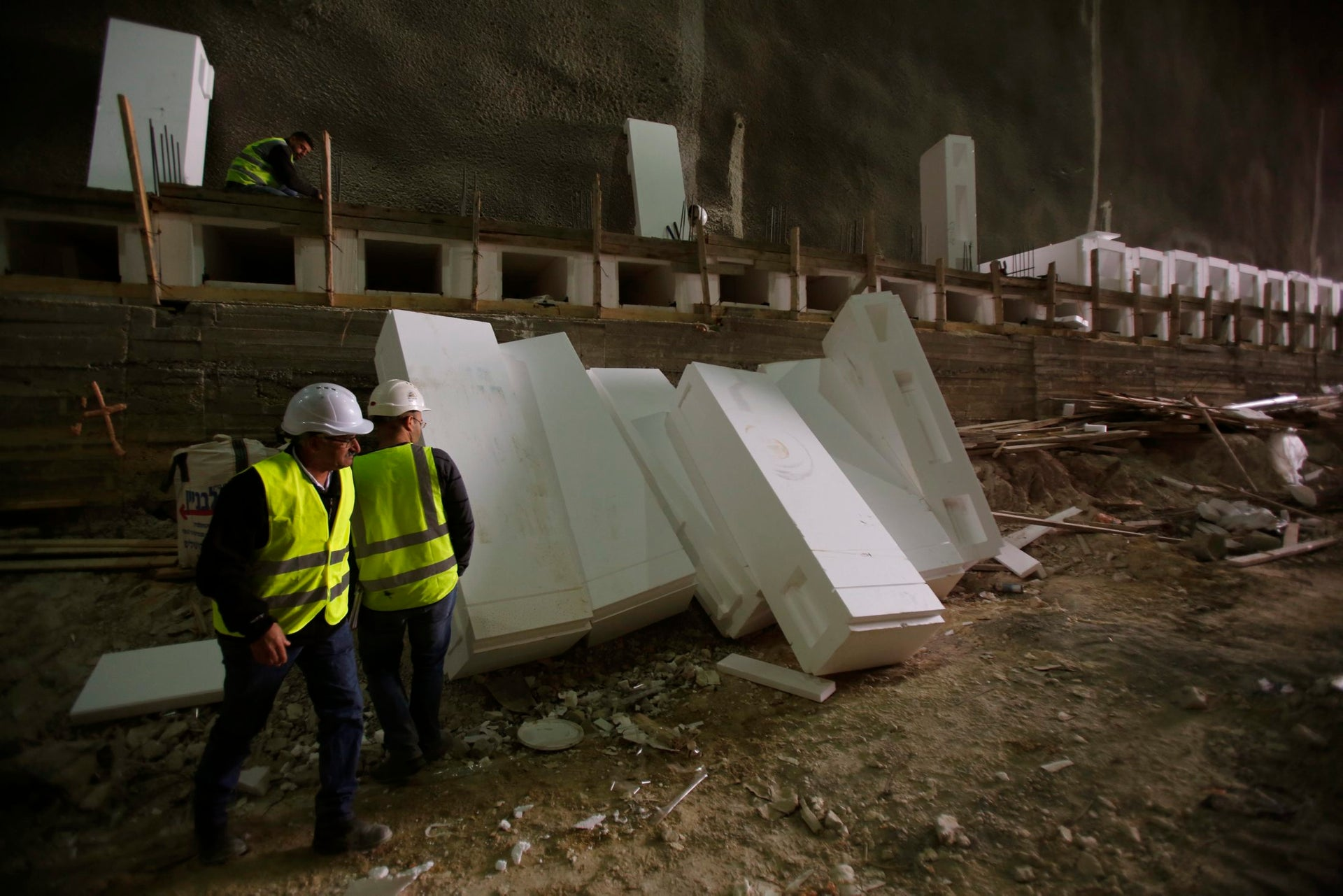 Styrofoam slabs at the construction site of new catacombs at Har Menuchot cemetery in Jerusalem, December 2017.
