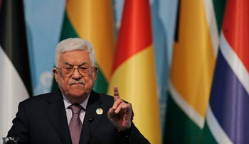 Palestinian President Mahmoud Abbas speaks in Istanbul, December 13, 2017