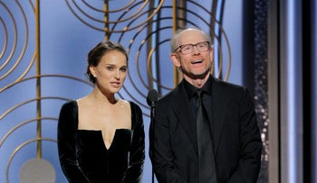 Natalie Portman and Ron Howard present the award for Best Director at the 75th Golden Globe Awards in Beverly Hills, California on January 7, 2018.