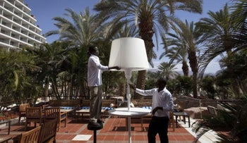 African asylum seekers working at a hotel in Eilat.