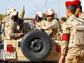 Egyptian military forces look on in North Sinai, Egypt December 1, 2017