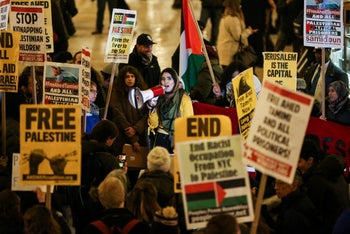 Rally in support of Palestinian 16-year-old Ahed Tamimi, detained by Israel, at Grand Central Terminal in Manhattan, New York. January 5, 2018