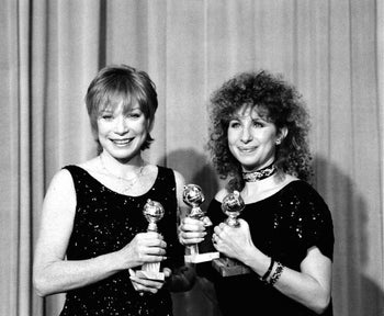 Barbra Streisand, right, with Shirley MacLaine at the Golden Globes in 1984. Streisand remains the only woman to win the best director award.