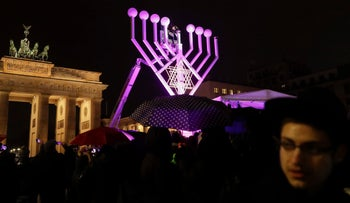A Hannukah Menorah set up at the Pariser Platz in Berlin, Germany, December 12, 2017