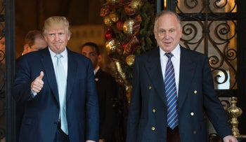 Donald Trump next to Ronald Lauder, president of the World Jewish Congress, at Mar-a-Lago in Palm Beach, Florida in 2016