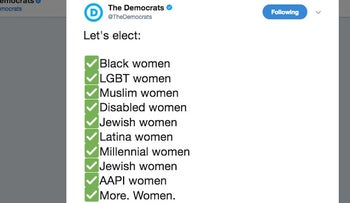 Screen shot of tweet from 'The Democrats' urging women to run for office
