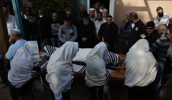 Mourners attending the funeral of Rabbi Raziel Shevach, 35, in the West Bank outpost of Havat Gilad, near Nablus, January 10, 2018.