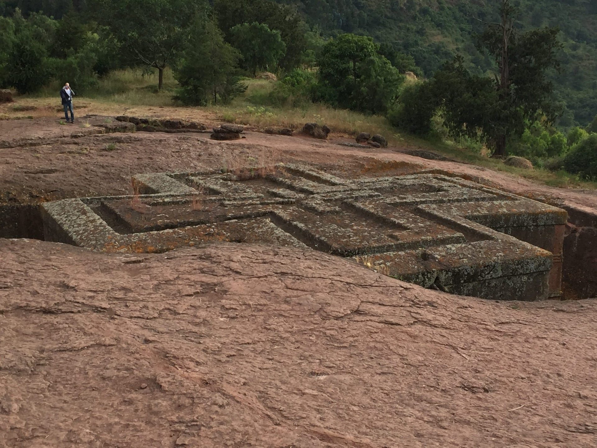 The cross-shaped rooftop of Beta Giyorgis (Church of St. George), one of the 11 churches carved out of the earth in the 11th and 12th centuries, in Lalibela, Ethiopia.